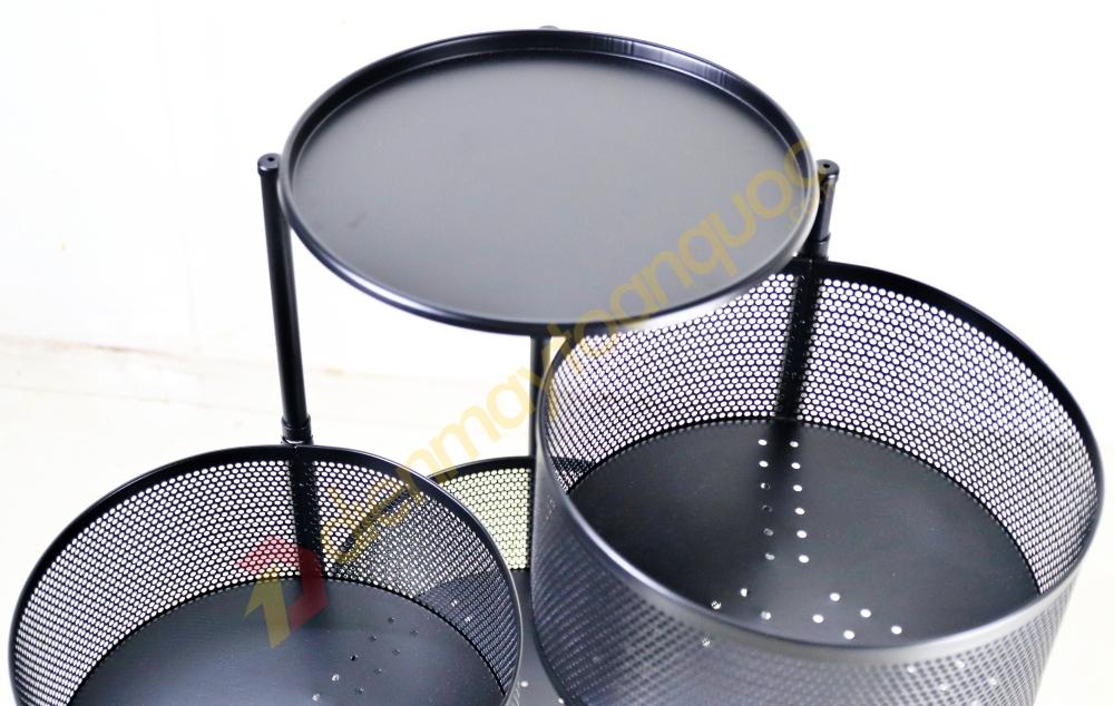 Kệ tròn xoay đa năng 360° 3 tầng Chịu lực 150kg - Sơn tĩnh điện