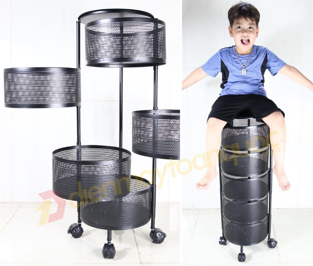 Kệ tròn xoay đa năng 360°, 5 tầng Chịu lực 150kg - Hàng Việt Nam chất lượng cao