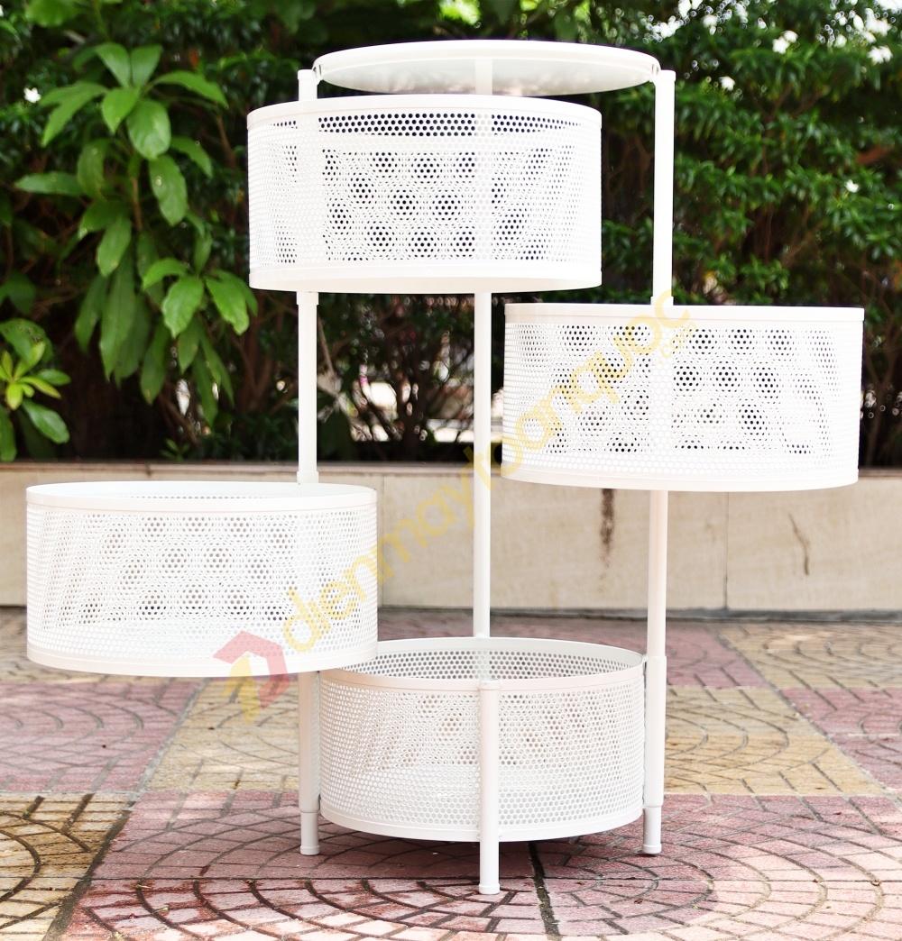 Kệ tròn xoay đa năng 360° 4 tầng, Mầu trắng, Chịu lực 150kg - Sơn tĩnh điện
