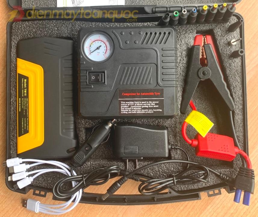 Bộ kích nổ kiêm bơm lốp xe Ô tô -  Đèn pin chiếu sáng dự phòng (TS86) - bộ phụ kiện 3 trong 1 không thể thiếu trong xe ô tô
